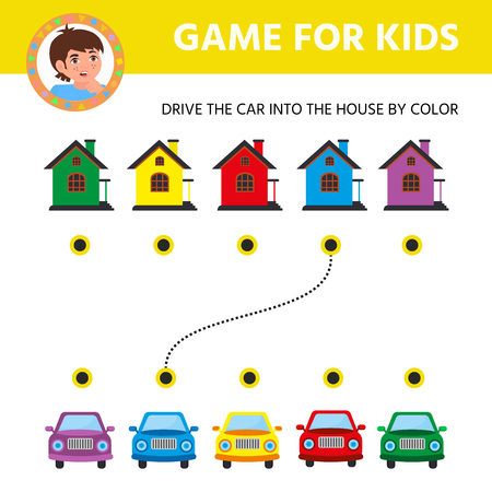 Children game for children. Logical conundrum. Cartoon cars. Help the car get to the home. Education developing worksheet. Activity page  イラスト・ベクター素材