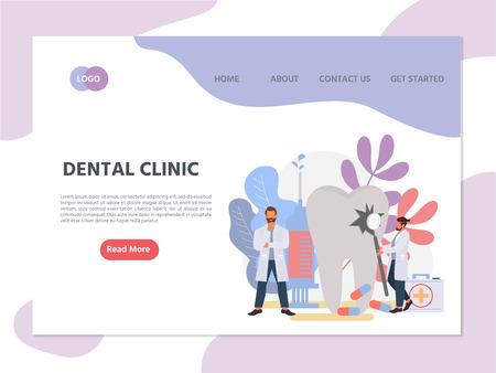 Web page template of online dental clinic. Modern flat design concept of web page design for website.  Oral hygiene stomatology medicine. Vector illustration