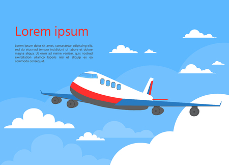 Airplane in sky. Travel concept. Vector illustration. Plane with clouds of the blu  sky.
