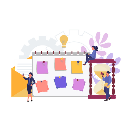 People are working on a schedule for the project. Time management concept. Landing page template, banner, poster. Vector illustration. Ilustração