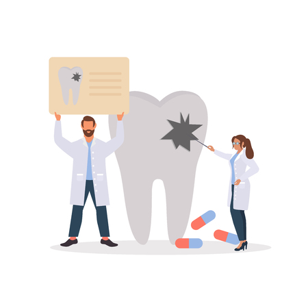 Dental clinic concept design for web banners, infographics, poster, web page concept. Oral hygiene stomatology medicine. Vector illustration