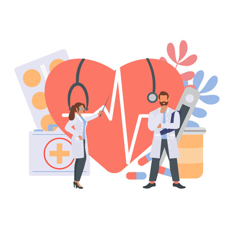 Medicine concept with tiny people character and heart pulse, thermometer, medication.  Vector Illustration, suitable for wallpaper, banner, background, card and web landing page. Иллюстрация