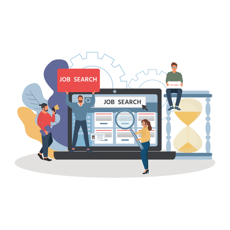 Job search. Recruitment. Employees looking for job. Landing page template, banner, presentation, social media, documents, cards, posters. Vector illustration