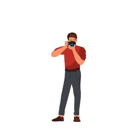 Photographer using professional camera in the studio. Photo studio. Vector illustration of young male character isolated on white background. Illustration