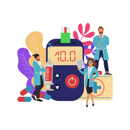 Diabetes Mellitus, concept. High blood sugar. Doctors and blood glucose testing meter. Vector  illustration  イラスト・ベクター素材