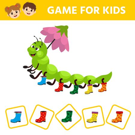 Visual puzzle with aterpillar a centipede in miscellaneous rubber boots. Match the pairs. Find the gumboot that has no pair. Children funny riddle entertainment. Illusztráció