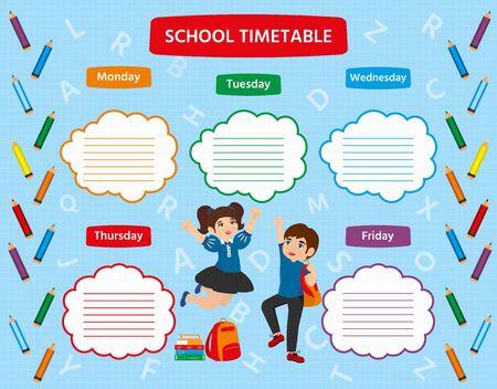 Orario scolastico con una scolaretta e uno scolaro felici e carini Illustrazione vettoriale. Modello colorato per brochure pubblicitarie, poster. Vettoriali