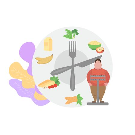 Fat obese man on scales and doctor showing obesity deseases.  Flat tiny persons concept diet chart. Obesity health problem. Overweight treatment concept.