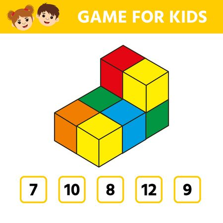 Education logic game for preschool kids. Kids activity sheet. Count the number of cubes. Children funny riddle entertainment. Vector illustration Stock Illustratie