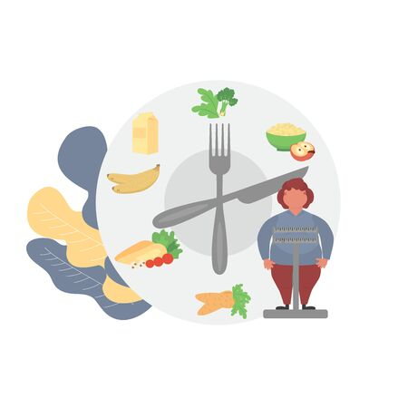 Fat obese woman on scales and doctor showing obesity deseases.  Flat tiny persons concept diet chart. Obesity health problem. Overweight treatment concept.