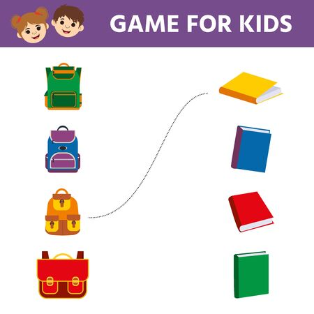 Matching game, educational game for kids. Find  the appropriate book and backpack. Children funny riddle entertainment. Activity sheet Ilustração