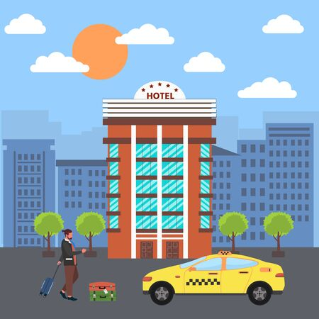 Taxi public service concept. Man with baggage orders a taxi from his cell phone. Taxi service application on screen  in the city. Vector illustration