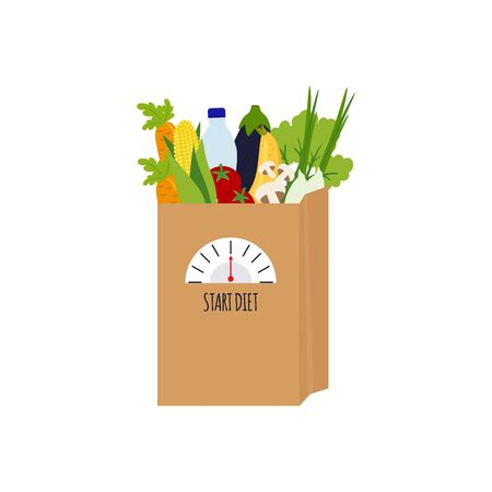 Package with food. Healthy lifestyle concept. Food for weight loss and treatment.Vector illustration  isolated on white background