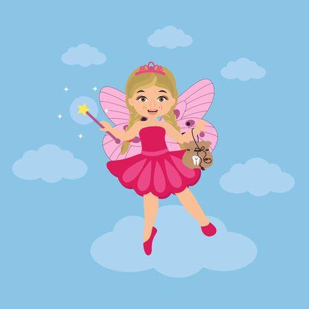 Cute tooth fairy girl with magic wand , cartoon character.  Dental medicine hygiene. Vector illustration Illustration