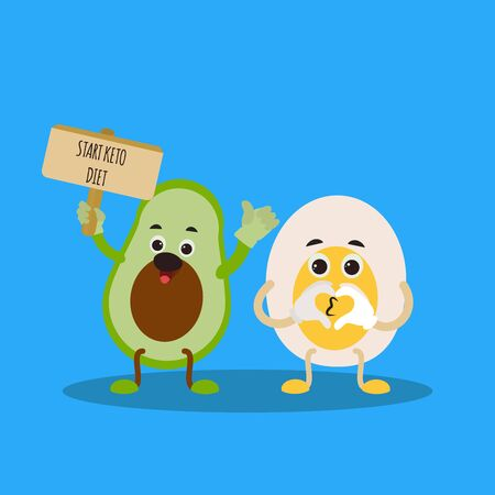 Funny cute avocado character  with egg. Start keto diet. Ketogenic diet for weight loss and treatment.