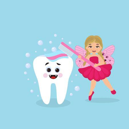 Cute tooth fairy girl with toothbrush, cartoon character.  Dental medicine hygiene. Vector illustration Illustration