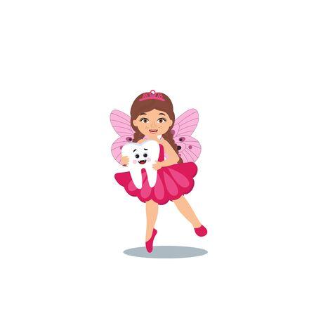 Cute tooth fairy girl holding big tooth cartoon character.  Dental medicine hygiene. Vector illustration
