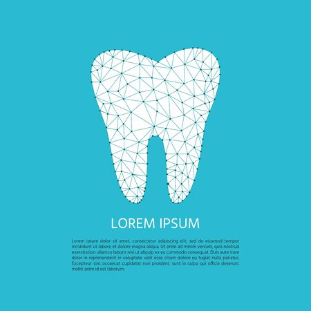 Polygonal tooth poster. Vector illustration for dental clinic branding with tooth in modern style  low poly.