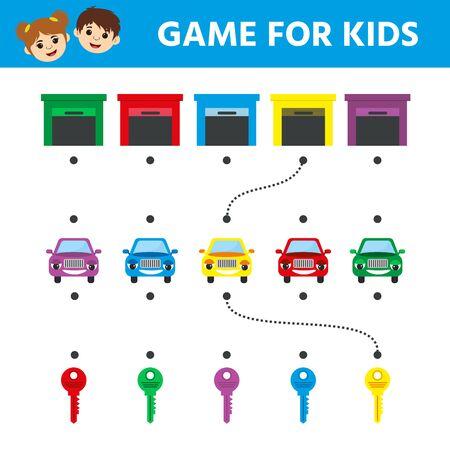 Kinderspiel für Kinder. Labyrinth. Cartoon-Autos. Helfen Sie dem Auto, die Ziellinie zu erreichen. Arbeitsblatt zur Bildungsentwicklung. Vektor-Illustration Vektorgrafik