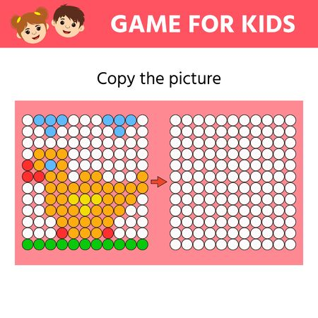 Education logic game for preschool kids. Copy the Picture. Drawing printable activity, learning symmetry for toddlers and kids Ilustrace