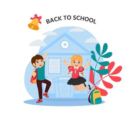 Cute boy and girl in blue school uniform. Back to school. Vector illustration for banner, invitation,  decor, interior design.