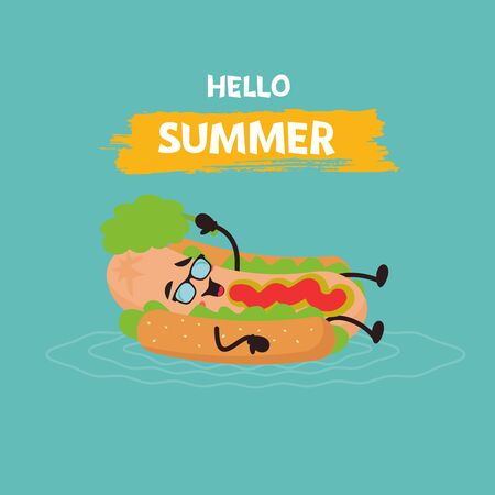 Summer poster design with cute hot dog characters with Hello summer text. Kawaii cute. Vector illustration
