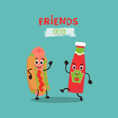 Cute kawaii Hot Dog and ketchup for icon or logo. Friends forever. Simple vector illustration can be used for sticker, patch, phone case, poster, t-shirt, mug and other design