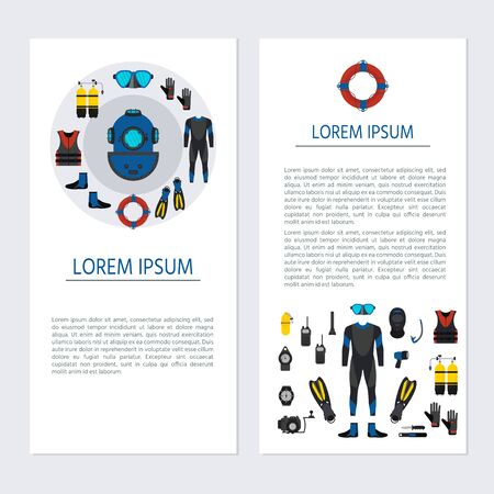 Two banners templates  with underwater equipment. Diving sport shop. Snorkeling recreation concept. Vector illustration Illustration