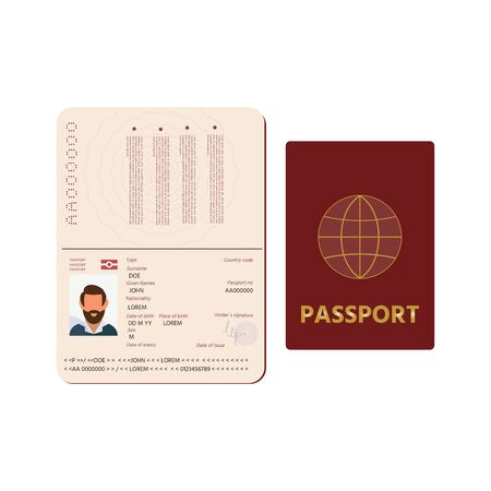 Passport icon. Passport pages with signature, nationality name surname date of birth information and pictures of man. Vector illustration isolated on white background