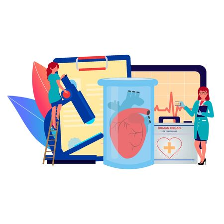 Mini person concept. Concept of medical examination and transplant of the heart. Vector illustration can use for banner, background, card, book Illustration and web landing page Illustration