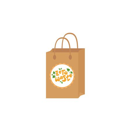 Reusable cloth bag instead of plastic bag. Shopping bags with Zero waste logo design template. Eco lifestyle. Illusztráció