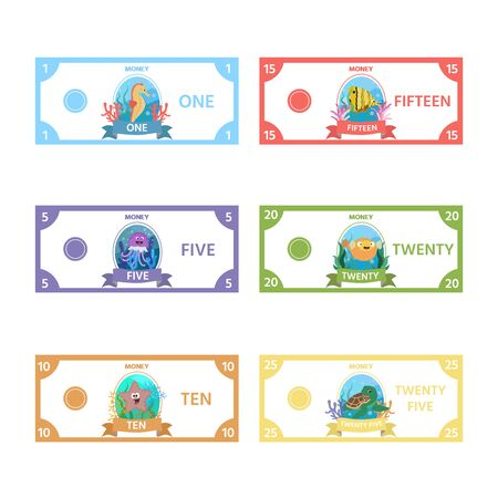 Vector set of paper money for childrens games with cute sea Horse, turtle, a fish, jellyfish, starfish. Activity sheet for kids. Matching education game for children.