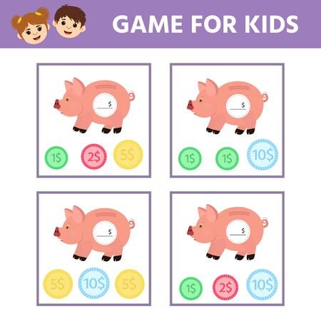 Matching education game for kids. Count the coins in piggy bank. Activity sheet. An evolving economic game for preschoolers. Vector illustration