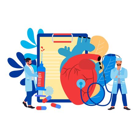 Doctor with stethoscope listening to huge heart beat. Mini person concept. Concept of medical examination of the heart, cardiovascular measurement. Illustration
