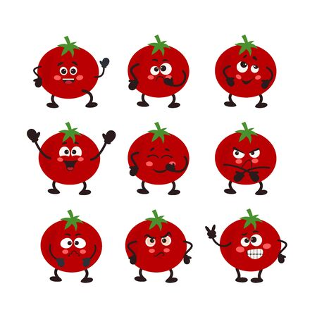 Vector Set of tomato character. Different emotions.. Vector illustration for your design, nursery decor, prints, childish background, T-shirt. Humanized funny pencils smiling, winking, giving okay Illustration