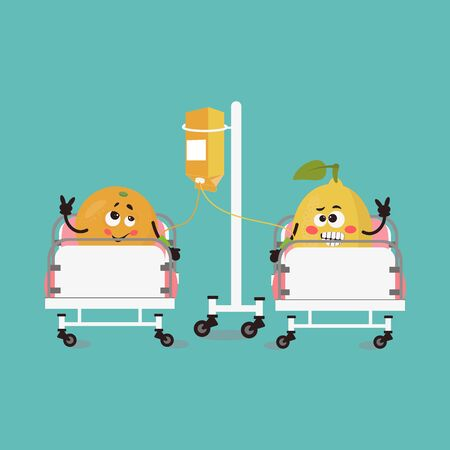 Funny cute orange and lemon in kawaii style in a hospital bed. Ketchup. Cartoon vector illustration. Vegetable funky character