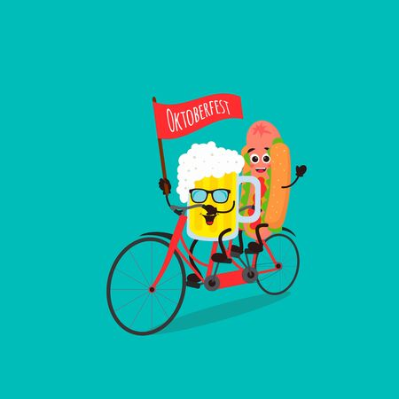 Beer glass character and cute hot dog Kawaii  ride a tandem bicycle. Vector cartoon illustration can use for cards, fridge magnets, stickers, posters
