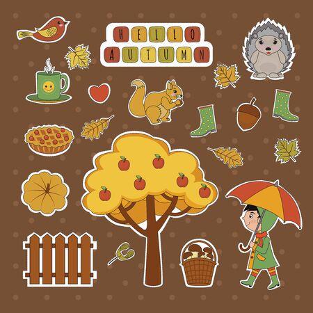 Set of cute autumn stickers. Kawaii little girl, umbrella, hedgehog, fly agaric, umbrella, hare, pumpkin, cloud, leaves. Vector cartoon illustration can use for kids decor, print, card, sticker kit