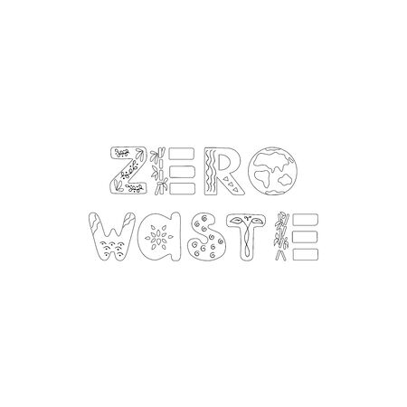 Zero waste  sign design template. Handwritten text title sign with green eco leaves. No plastic market. Vector illustration isolated on white background