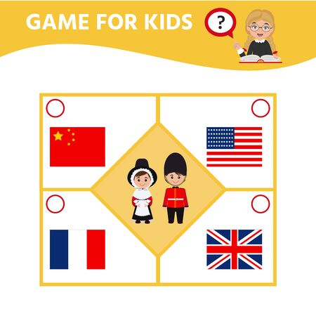 Education game for children. Match of national costumes and flags. Activity sheet for pre s?hool years kids. Illustration