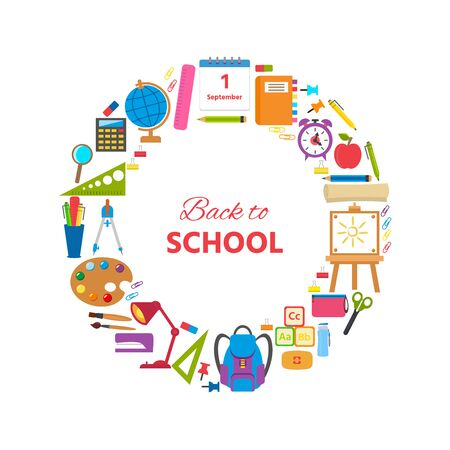 Set of school supplies and elements. Back to school concept. Vector illustration can use print templates and leaflets with stationery equipment. School and education cards, posters or banners Stock Illustratie