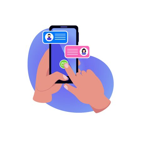 Man chatting with woman in smartphone mobile screen. Vector illustration  icon can use for mobile smartphone, chatting in social media,  landing page, template, ui, web, mobile app, poster, banner, flyer.