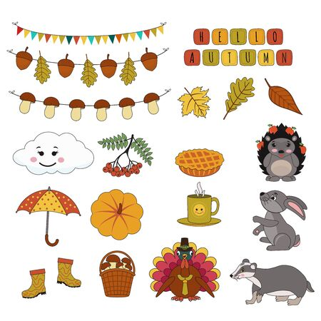 Set di simpatici adesivi autunnali. Tacchino, ombrello, riccio, tasso, ombrello, lepre, zucca, ghirlanda di funghi, foglie. L'illustrazione del fumetto vettoriale può essere utilizzata per l'arredamento dei bambini, la stampa, la carta, il kit di adesivi Vettoriali