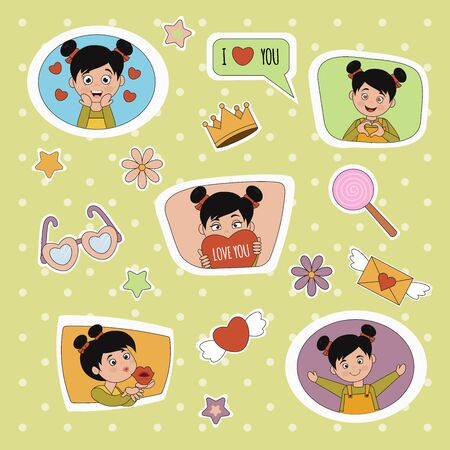 Cute little girl with different emotions. Emoji Stickers Emotions. Vector cartoon illustration can use for kids decor, print, card, sticker kit, Set for online communication, networking, social media chat Иллюстрация