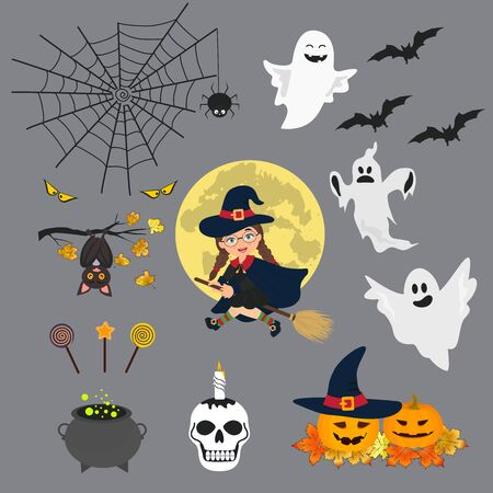 Vector illustration of set of halloween element with pumpkin, witch on a broomstick, pot of potion, ghosts and bats. Illustration can use for kids decor, print, card, sticker kit