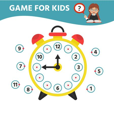Game for kids. Riddle the children clock. Learning time on the clock. Children funny entertainment and amusement. Educational Game find the Matching time on the watch. Vector illustration