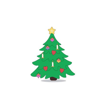 Cartoon Christmas tree icon. Vector illustration can use for New Year cards, banners, posters, decor. Иллюстрация
