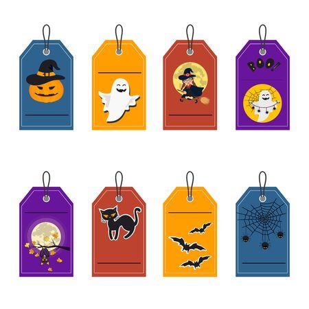 Vector illustration sticker of set of halloween element with pumpkin, cat, skeleton, pot of potion, ghosts and bats. Illustration can use for kids decor, print, card, sticker kit Иллюстрация