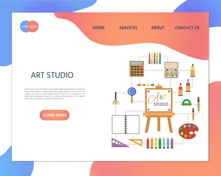 Art Studio illustration. Set of Tools and Materials for Creativity and Painting. Art studio, open art classes, modern arts gallery concept. Website homepage landing web page template.