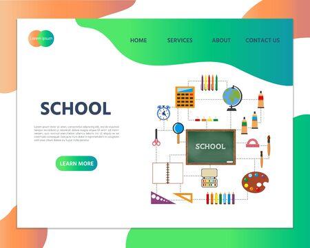 School illustration. Set of school supplies and blackboard. Website homepage landing web page template. Stock Illustratie